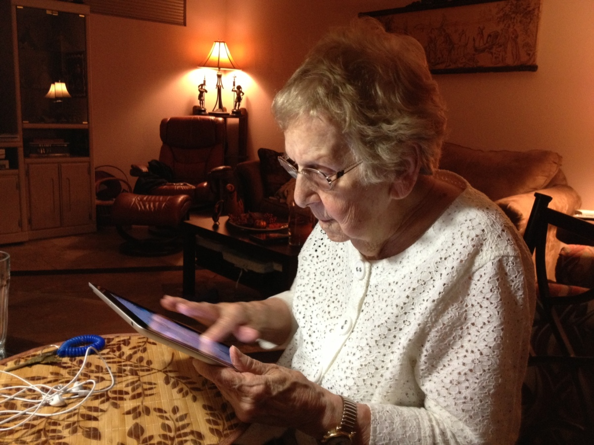 my mom with AMD using her iPad